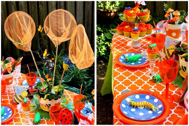 bug party decor - check out the nets!