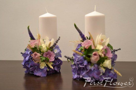 Small wedding candles with purple hydrangea - First Flower