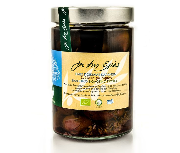 Οrganic olives, collected by hand, within oil flavored by herbs of Taygetos mountain, made with love for olive and tradition.  Kalamata olives is the first olive class certified as PDO (protected designation of origin) product. An excellent table selection, adapted to the soil and microclimate of Messinia, whence it spread to Laconia. In these two areas is where the main crop is being cultivated.