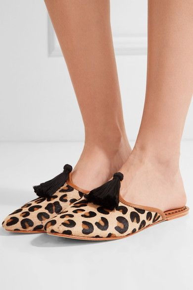 Figue - Audrey Leather-trimmed Leopard-print Calf Hair Slippers - Leopard print - US10