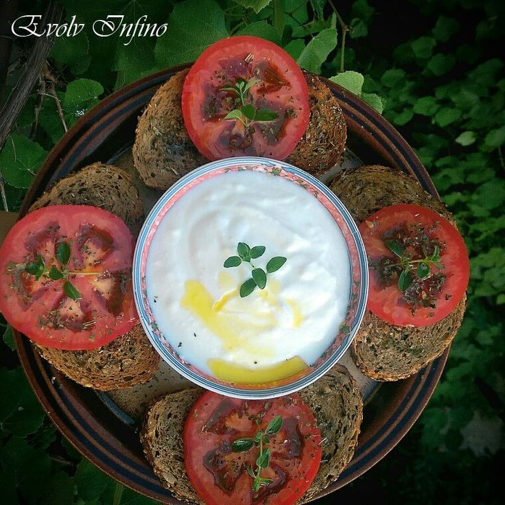 Whole Grain Garlic Bread with Olive Oil, Tomato, Basil & Yogurt