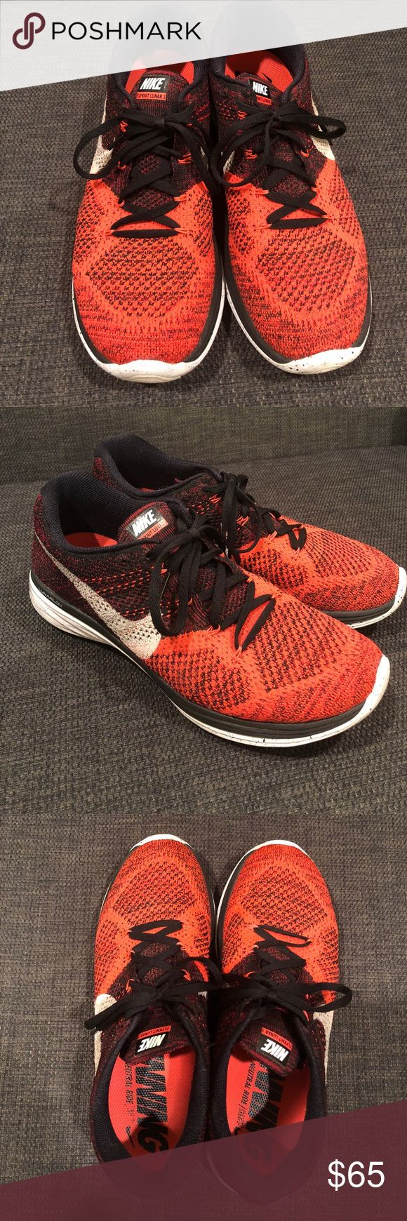 Nike Flyknit Lunar 3 Size 10 Red Pre-owned still in great condition. Men's Nike Flyknit Lunar 3 in red. Perfect for running & work out :) make a reasonable offer and I will accept it. Thanks! Nike Shoes Sneakers