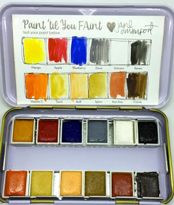 Keep Calm and Craft On: Review Jane Davenport Watercolor Palette Sets by American Crafts - Neutral Palette and Brights Palette. Aqua Brushes - Watercolor -mixed media #janedavenport #watercolor #watercolorpallet