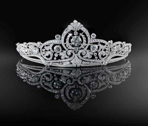 Belgian Scroll Tiara, Luxembourg (1953; made by Henry Coosemans; diamonds, platinum).