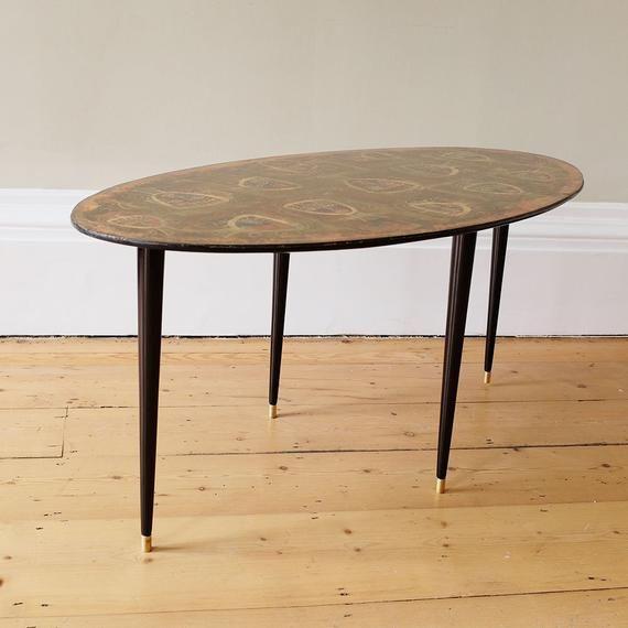 Mid Century Italian Coffee Table With Cubist Faces Vintage Coffee Table Mid Mod Table Oval Table 1950s Italian Style Bruno Cassinari Mid Century Coffee Table Oval Table Mid Century