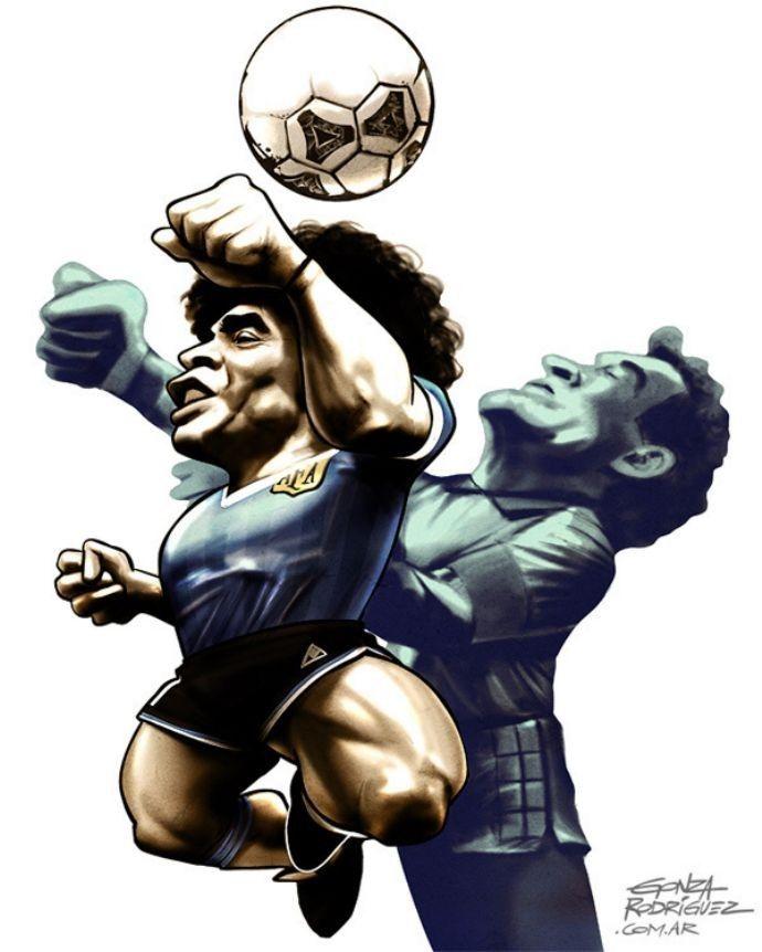 """Diego Maradona Ahistórica """"Mão de Deus"""" contra a Inglaterra, nas quartas do Mundial de 1986, quando o camisa 10 argentino ainda fez um gol ..."""