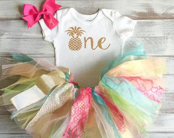 Baby Girl Flamingo 1st Birthday Outfit Pink and by RelicsofGrace