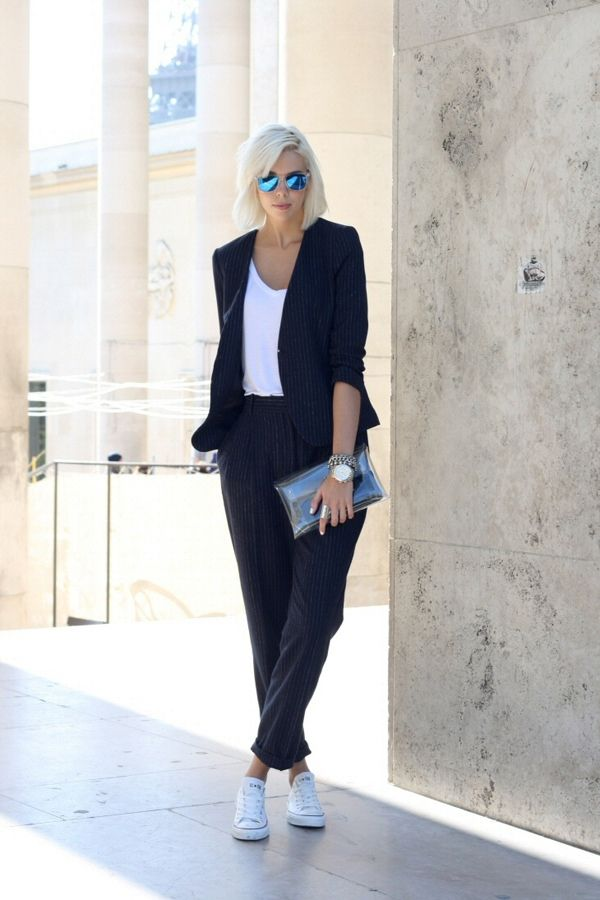 oh who's that? suit, tee + cons...#offduty fab.