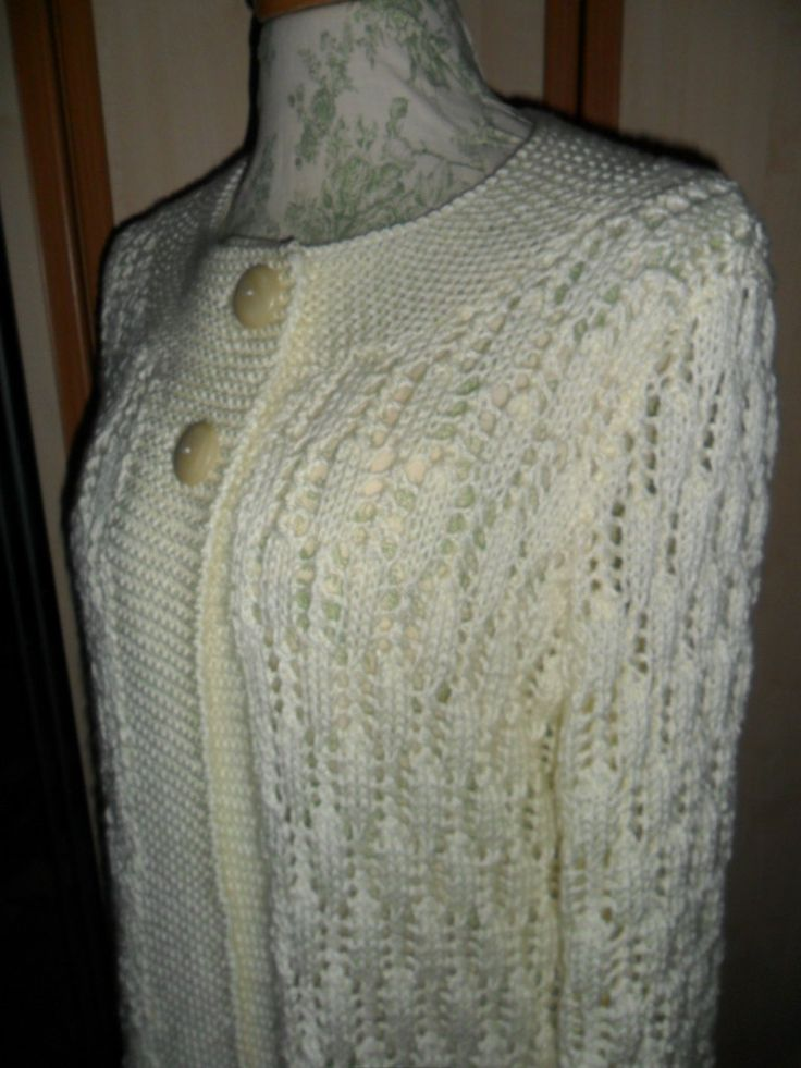 Ladies Hand Knitted Jacket, longer length, fitted, Aran yarn, 2 buttons, off white colour,lacy, long sleeves, washable - pinned by pin4etsy.com