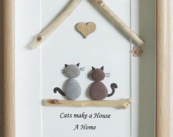 Guijarro arte enmarcado cuadro - gatos hacen una casa un hogar