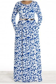 Blue leaves maxi dress