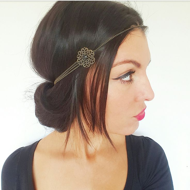 Headband bohème, headband bijou fleurs bronze et noir, headband champêtre,  accessoire cheveux hippie chic, headband mariage vintage