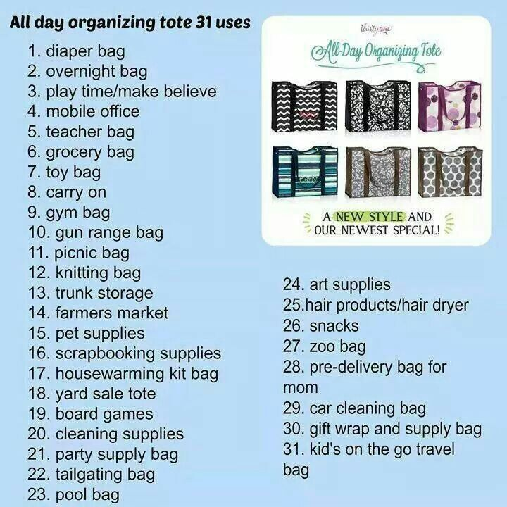 Uses for thirty one totes. Get organized! https://www.mythirtyone.com/makebelieveteacher