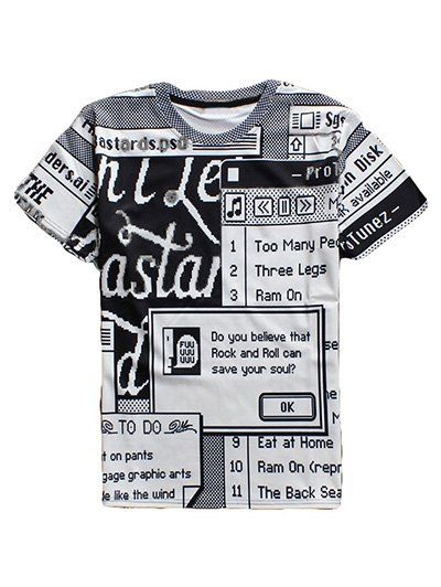 Full Letters Printing Round Neck Short Sleeves 3D T-Shirt For Men