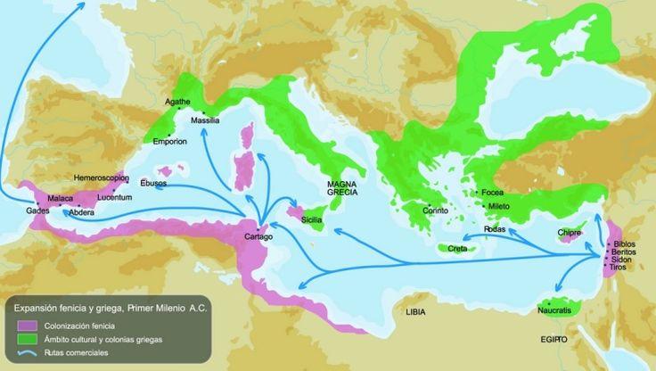 Mapa de la expansión fenicia y griega por el Mediterráneo.