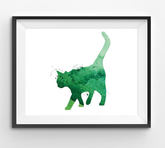 Green Cat Watercolor Print Animal Print Cat Digital Print