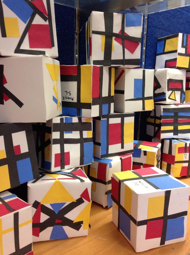 Mondriaan kubussen - Knutselen met kinderen- The Artsy Fartsy Art room