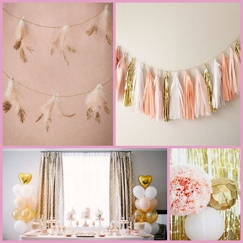 Gold and Blush Birthday Party Decoration Ideas from HotRef