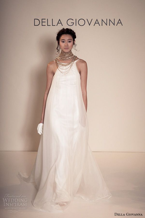 della giovanna wedding dress 2015 bridal sleevless silk organza pleated trapeze gown model alexandria runway