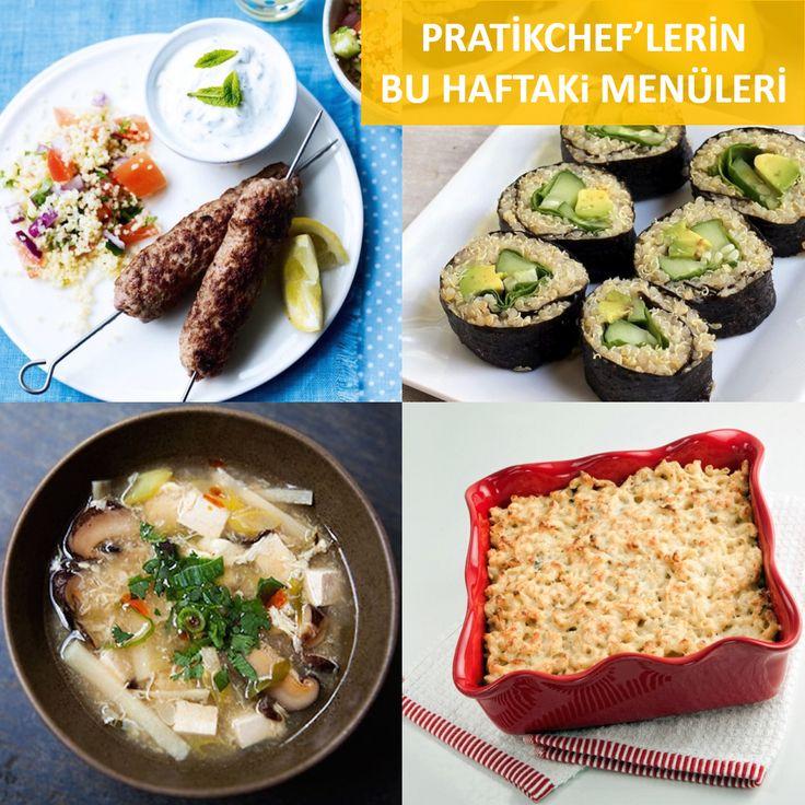 Bu akşam ne yemek yapsam diye düşünen PratikChef'lerimiz için 200'den fazla tarifimiz arasından bu hafta seçtiklerimiz:  - Dana Şiş Köfte - Kuskus Salatası ile - Kinoa Sushi - Avokado, Salatalık ve Ispanak ile - Fesleğenli ve Sarımsaklı Fırında Peynirli Makarna (Mac&Cheese) - Hot & Sour Çorba  www.pratikchef.com.tr #neyemekyapsam   #menüönerileri   #evdeyemek   #hemlezzetlihempratik