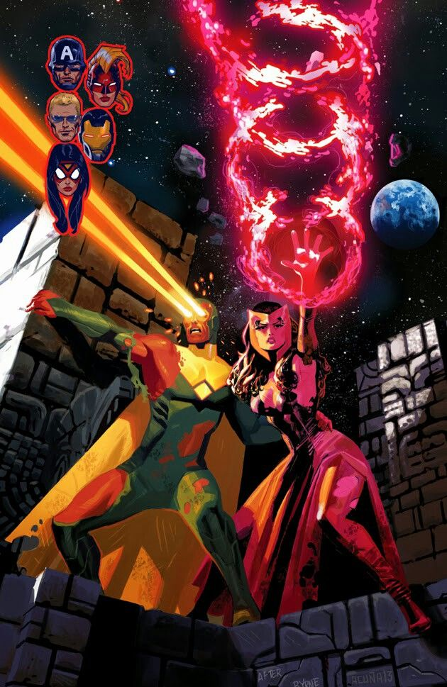 Uncanny avengers cover-Vision and Scarlet