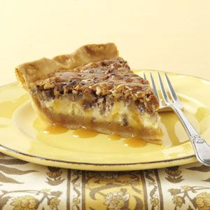 Caramel-Pecan Cheesecake Pie Recipe from Taste of Home -- shared by Becky Ruff of Monona, Iowa