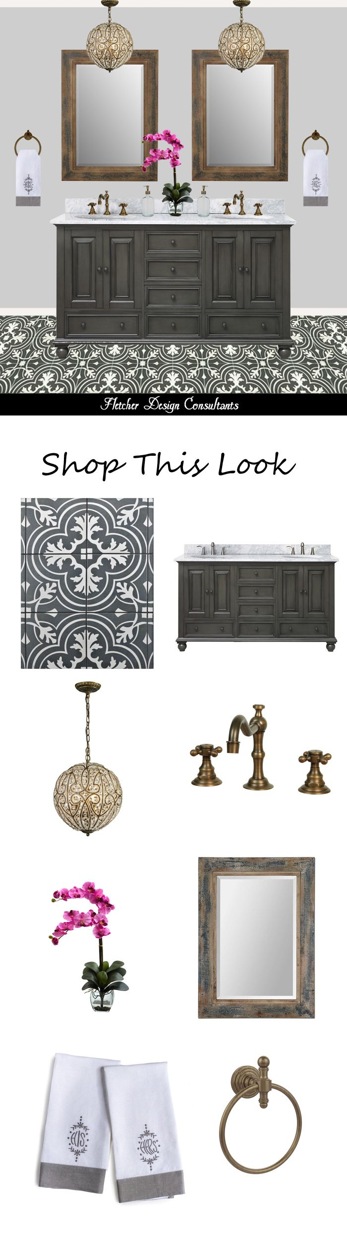 Shop This Look - Traditional Black, White, and Gray Bathroom - cement encaustic tile, antique brass chandelier, faucet, marble, mirror, ideas, decorating
