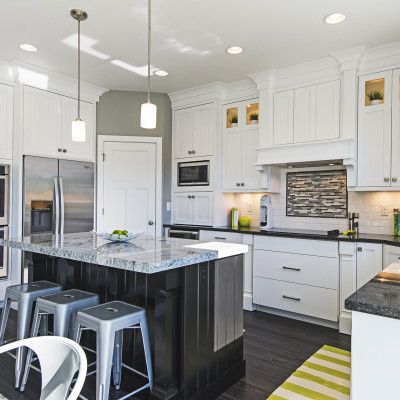 2014 cf olsen parade of homes white cabinets black for Modern 50s style kitchen