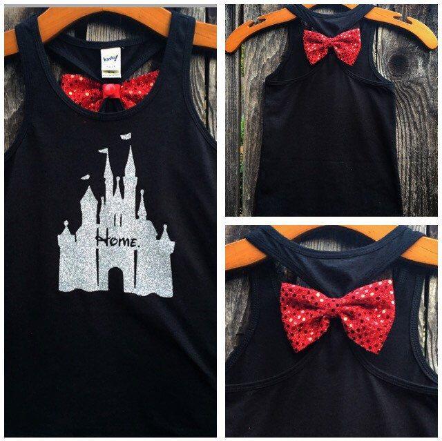 Child's Disney Castle Home Bow Back Tank Top, Cinderella Castle Shirt, Baby…