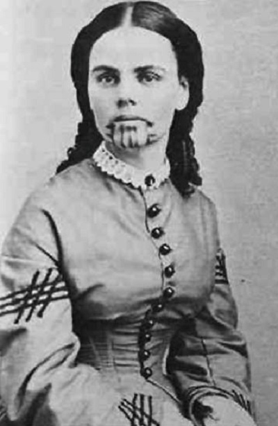 Olive Oatman, who was held captive and tattooed by the Mohave Indians. The first white woman in the US to be tattooed (~1850s).