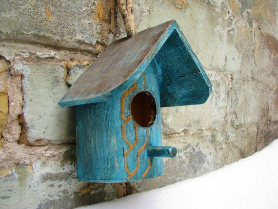 Romantic teal and gold rustic style birdhouse or nesting   http://www.etsy.com/listing/91490801/romantic-teal-and-gold-rustic-style
