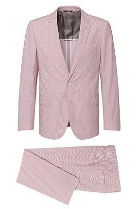 Slim-fit suit in cotton blend: 'Hedson2/Gander1', Patterned