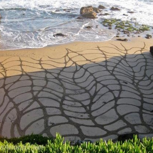 Draw in the sand - http://www.andresamadorarts.com/