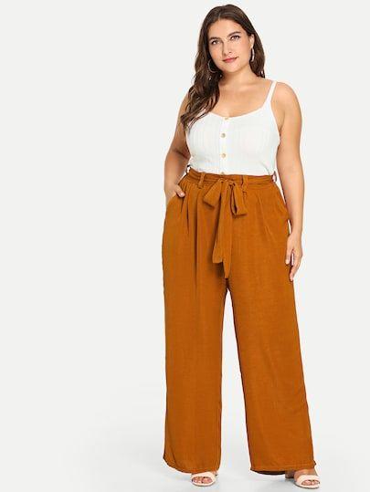 Plus Knot Front Wide Leg Pants -SheIn(Sheinside) 17