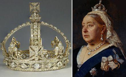 A gauche : La petite couronne de diamant de la Reine Victoria – R&S Garrard, 1870, A droite : La reine victoria portant le collier et les boucles d'oreilles ...