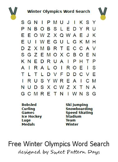 Printable Winter Olympics Word Search | Activity ...
