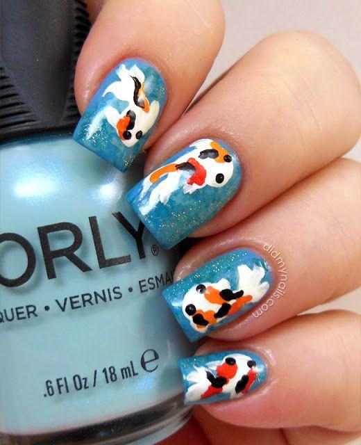 koi goldfish nail art