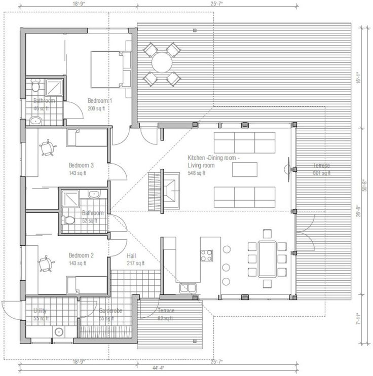 Ranch Style House Plan   3 Beds 2 Baths 1444 Sq/Ft Plan #537