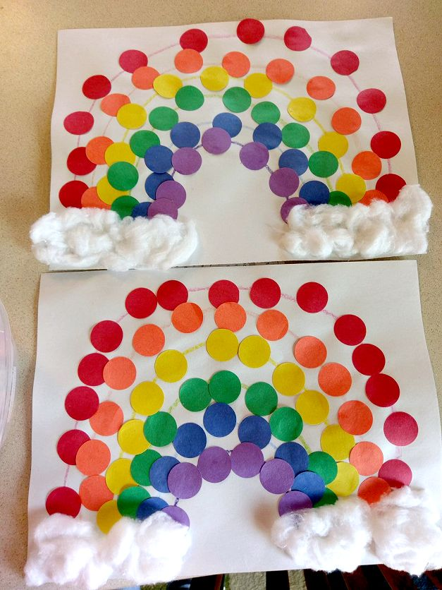 Easy Dot Rainbow Craft for Kids - Cute art project for toddlers for st patricks day!