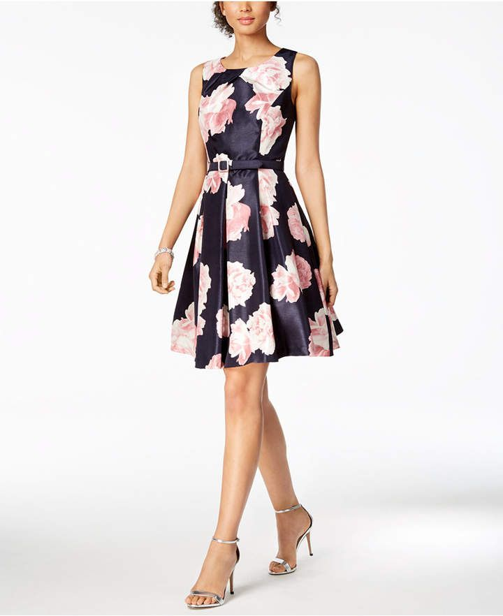 9d13dcfed4bef Jessica Howard Petite Belted Floral-Print Fit & Flare Dress ...
