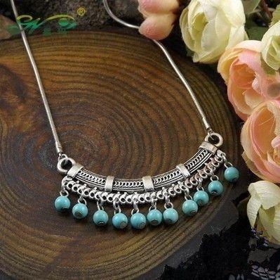 Fashion Classic Bohemia Style Tibetan Silver Necklace Turquoise Sweater Chain of Pinus Koraiensis Folk Style Free shipping