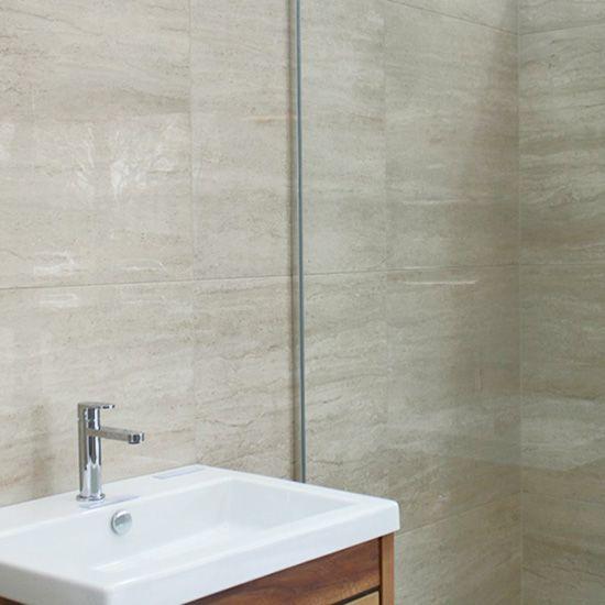 Travertine matt or lappato tile in grey.  600mm x 600mm