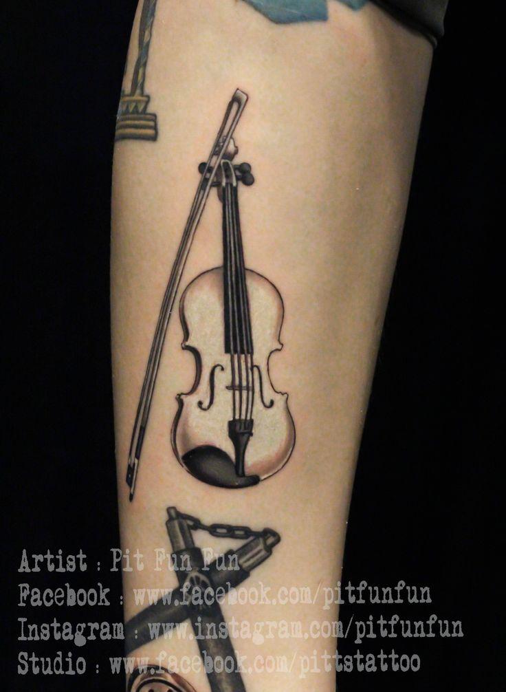 violin tattoo by Pit Fun  ,www.pittstattoo.com ,instagram : pitfunfun ,facebook : fun fun official page