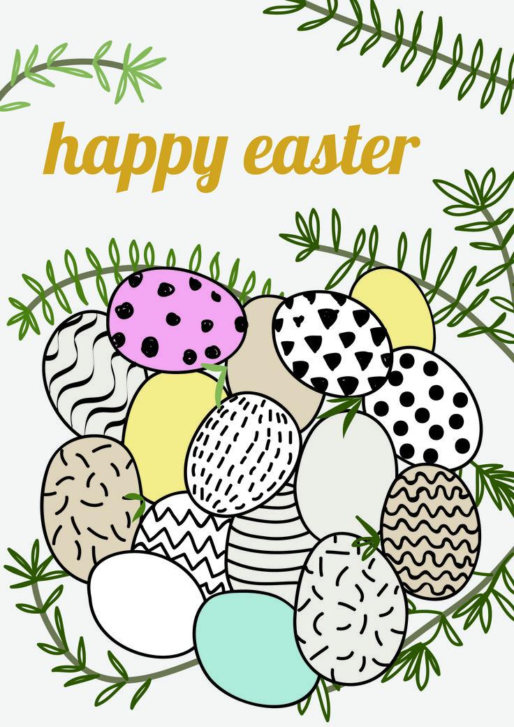 happy easter eggs twig illustration