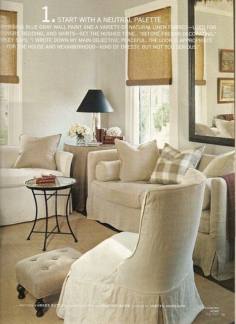 Neutral linen slip covers with black shade and blue gray for Gray neutral living room
