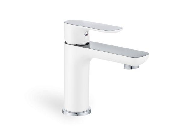 White and chrome single hole faucet - Single-hole faucets - Bathroom faucets…