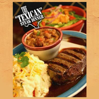 """Try our """"Texican""""Steak Dinner, just one of our menu's steak options!   Mesquite-grilled steak, red wine veal sauce, cheddar-red pepper mashed potatoes & esquites.  www.frescosmexicanfood.com"""