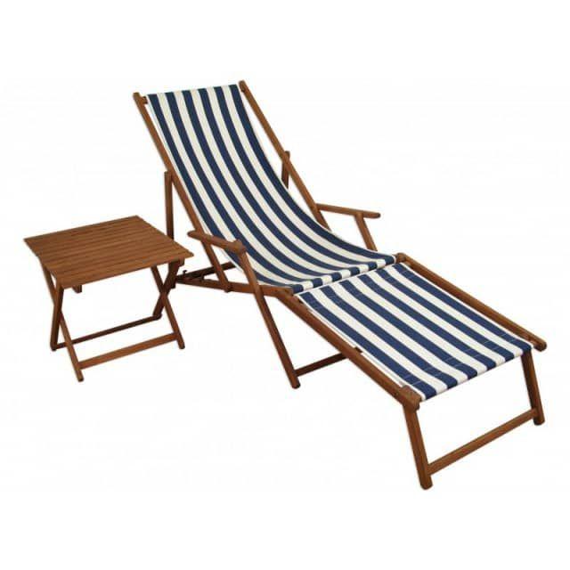 Liegestuhl blau-weiß Sonnenliege Fußteil Tisch Buche dunkel Relaxliege Gartenliege 10-317 F T - erst-holz