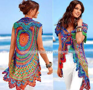 Chaleco tejido a crochet con patron redondo