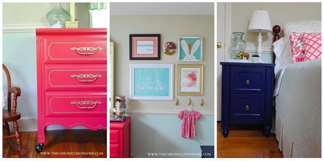 The Chronicles of Home: Aqua, Navy, and Coral Bedroom.  Fun idea for a vintage dresser!
